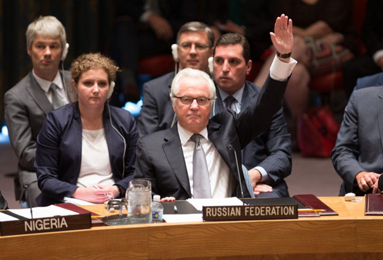 Вето России рукой Виталия Чуркина 29 июля 2015 года во время голосования в Совете Безопасности ООН по проекту резолюции о создании трибунала по гибели рейса МН17