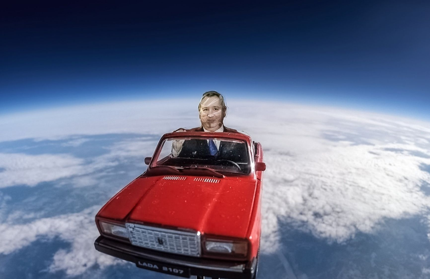 In 2019 Russian scientists sent Dmitry Rogozin's eerie effigy into the atmosphere behind the wheel of a bright red Zhiguli toy car