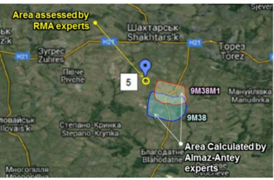 Алмаз-Антей установил примерно ту же вероятную область взрыва ракеты (но не пуска), что и бельгийцы. А вычислив место пуска, получили такой результат (Зарощенское туда попадает).