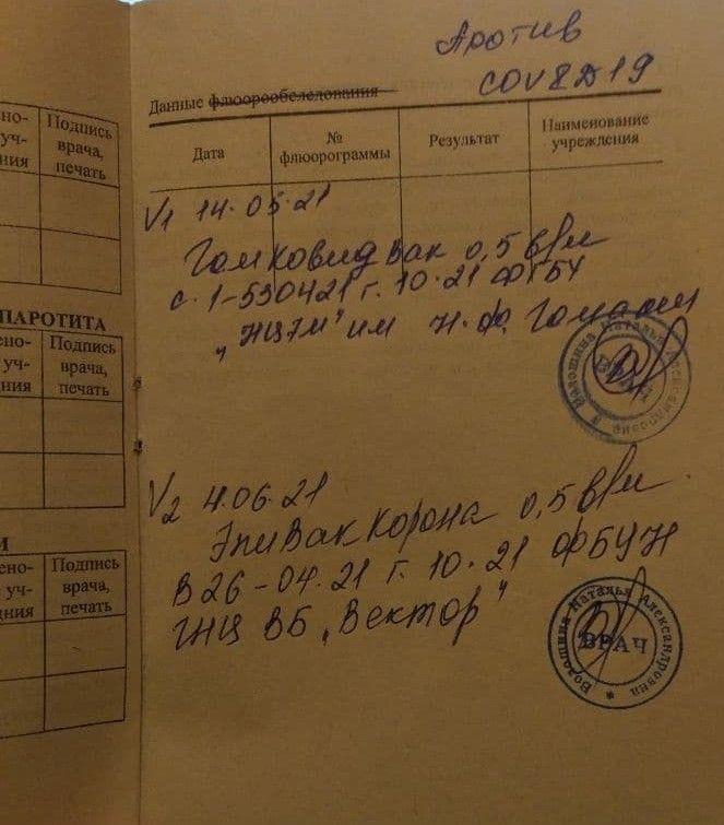 Сертификат, выданный Альбине