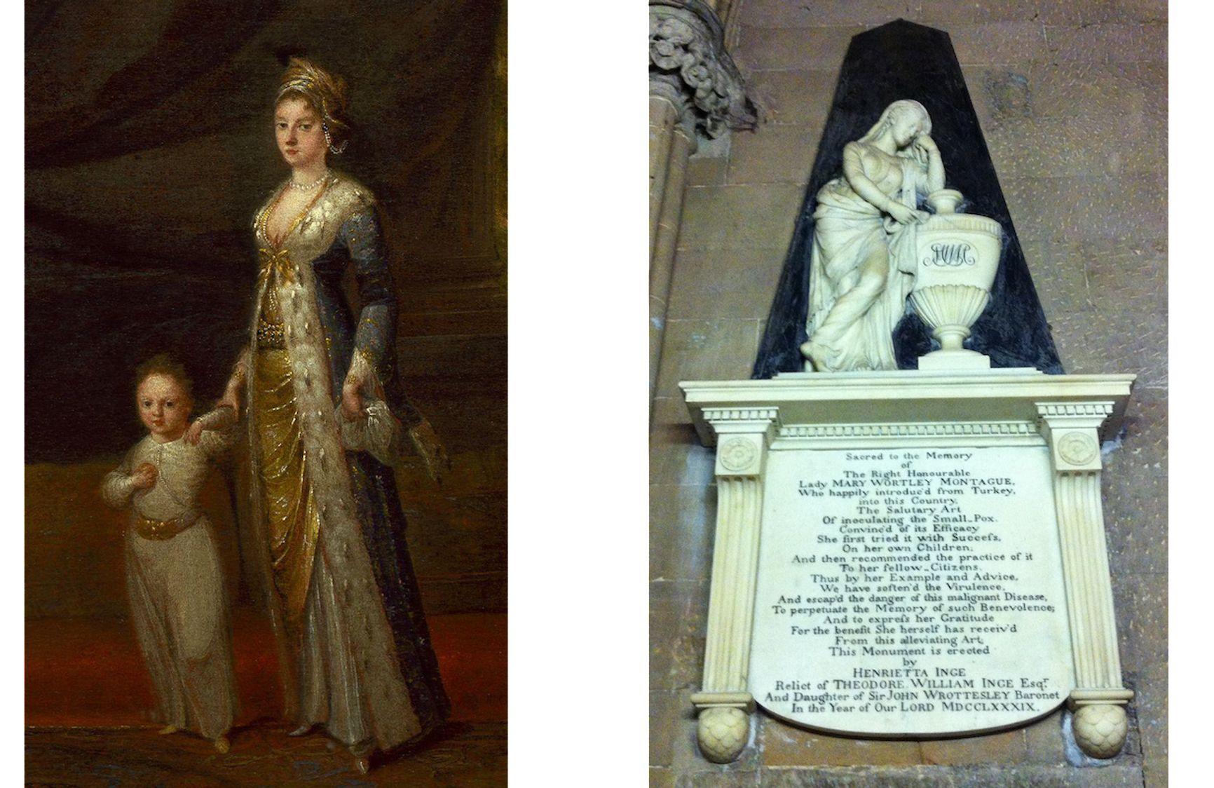 Леди Мэри Монтегю со своим сыном Эдвардом и мемориал Мэри Уортли Монтегю в Личфилде
