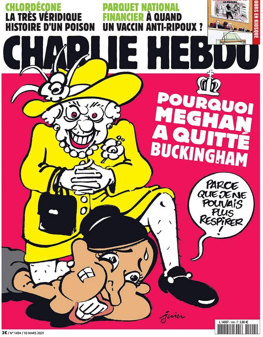 Карикатура из журнала Charlie Hebdo. Заголовок: «Почему Меган покинула Бэкингемский дворец». Фраза, которую произносит Меган Маркл: «Потому что я не могла дышать».