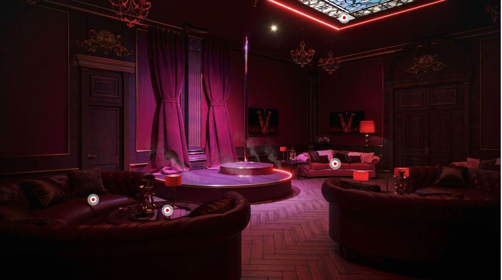 Кальянная комната с шестом во дворце Путина