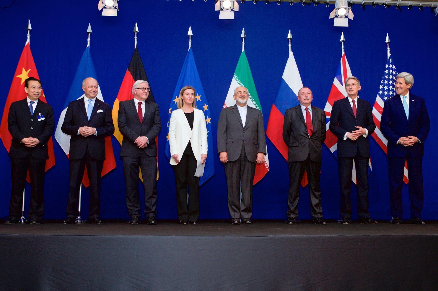 Министры иностранных дел Франции, Германии, ЕС, Ирана, Великобритании и США, а также китайские и российские дипломаты. Лозанна, 2 апреля 2015